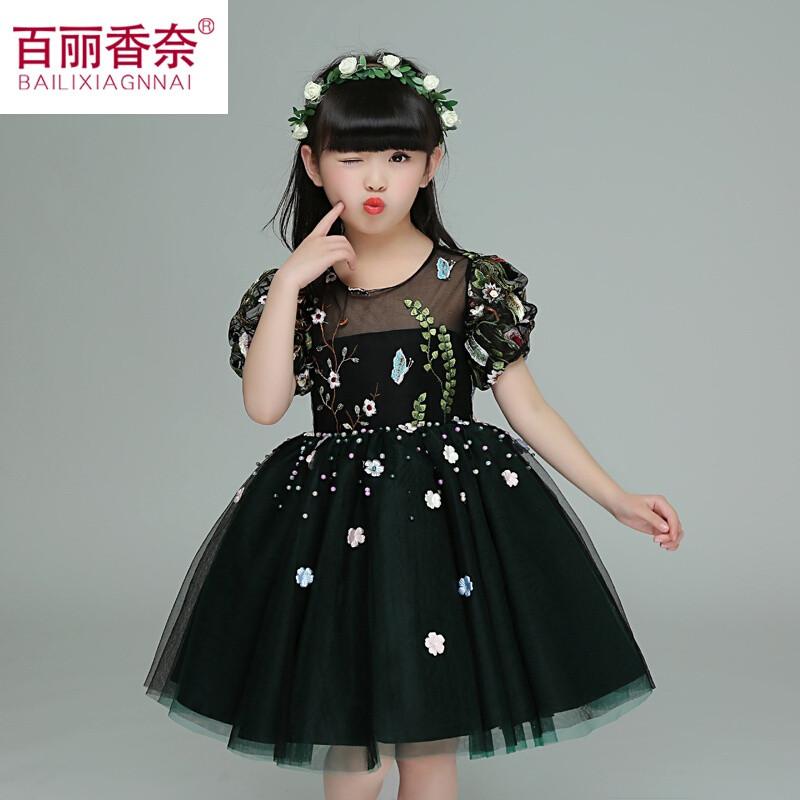百丽香奈女童公主裙春装2017新款儿童礼服演出黑周岁聚会衣服女生日