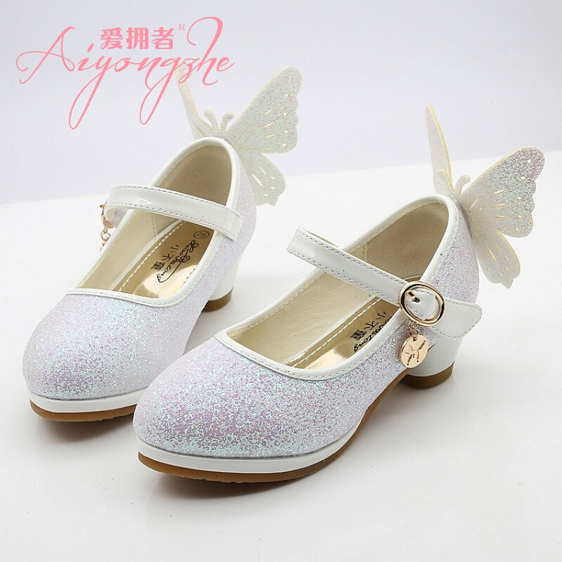 爱拥者女童高跟凉鞋夏季新款儿童水晶鞋678岁中大童公主鞋表演皮鞋