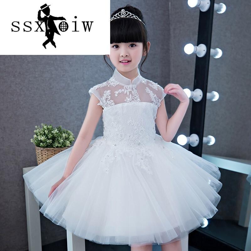 ssxoiw2017新款儿童礼服女小主持人女童立领婚纱公主裙花童礼服连衣裙
