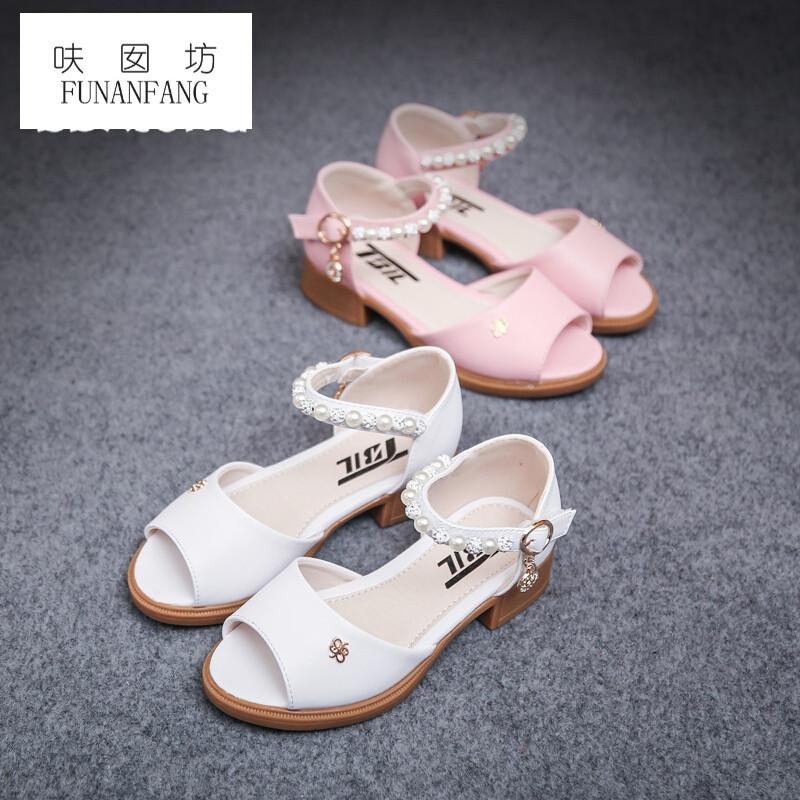 呋囡坊女童凉鞋夏季儿童鱼嘴鞋2017新款韩版高跟鞋百搭公主单鞋