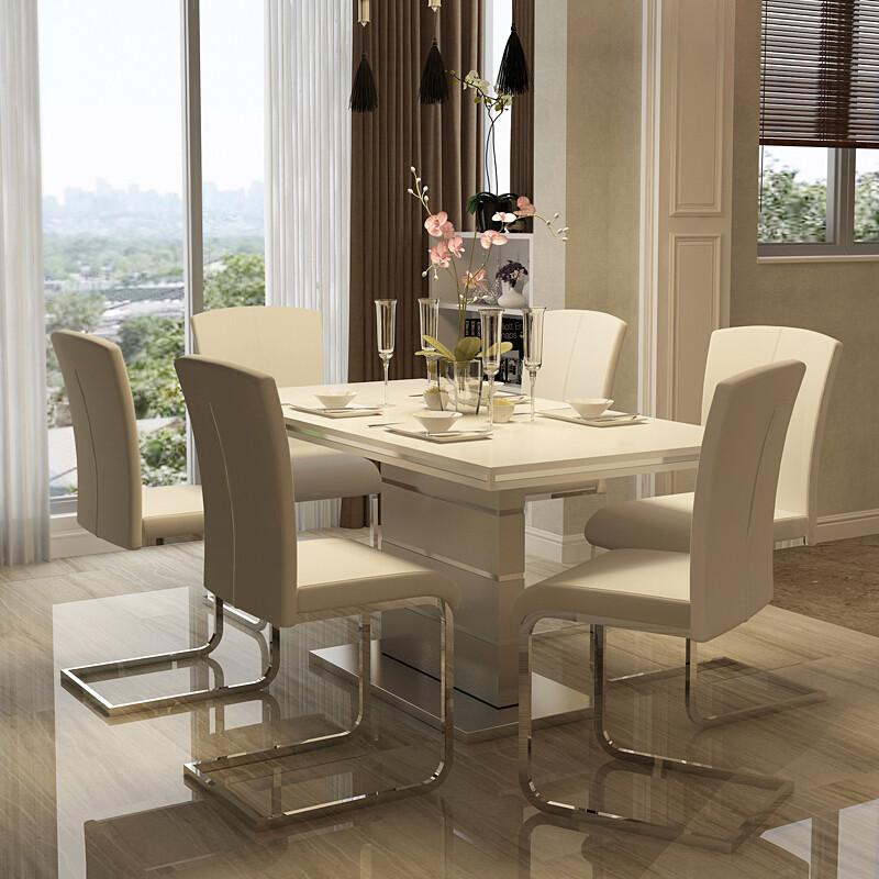 家用时尚餐桌简约现代西餐桌椅组合小户型饭桌烤漆北欧餐桌餐台