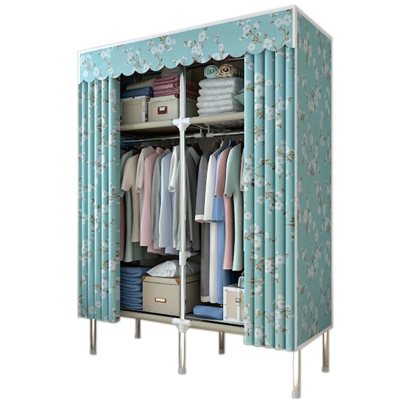 简易衣柜钢架小号折叠布艺组装布衣柜单人钢管加粗加固宿舍布衣橱