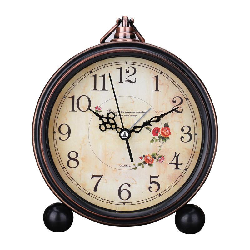 复古欧式田园创意闹钟懒人静音学生闹钟简约床头小闹钟座钟台钟zb1220图片