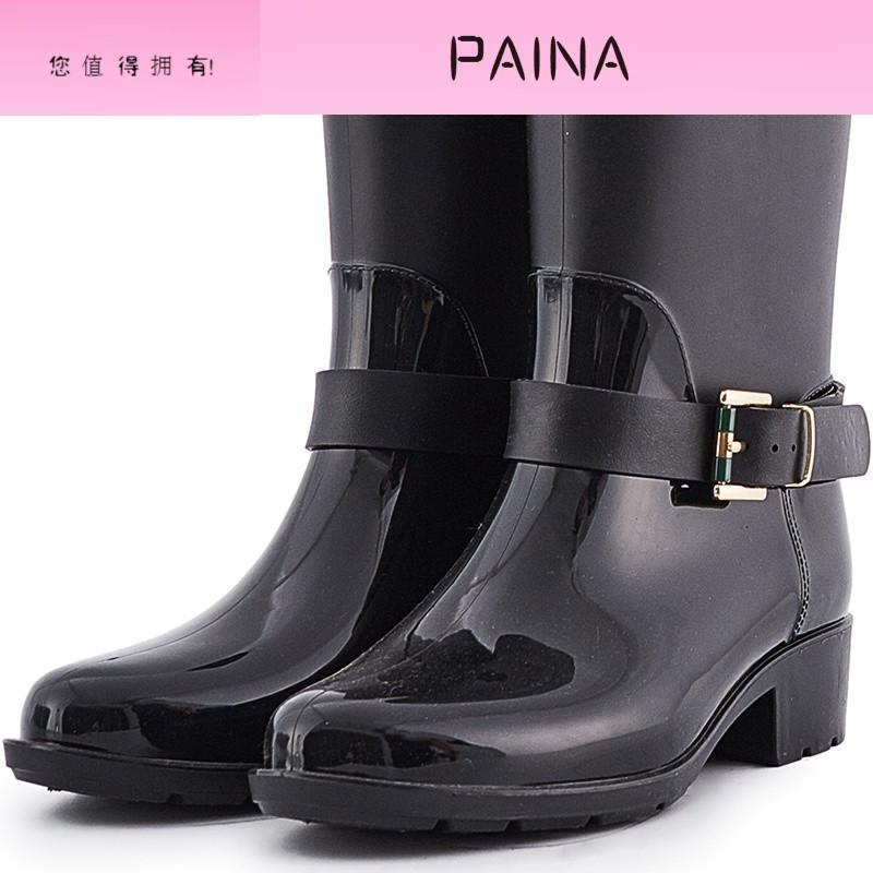 时尚搭扣胶鞋雨鞋女成人韩国中筒雨靴可爱水鞋防水鞋潮