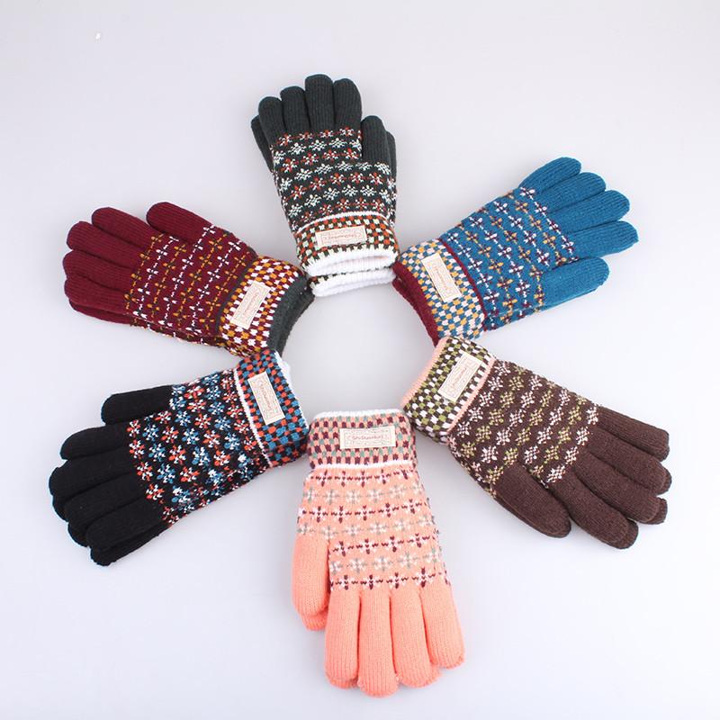 韩版秋冬季毛线手套女可爱保暖加绒加厚针织学生骑车分指手套冬天