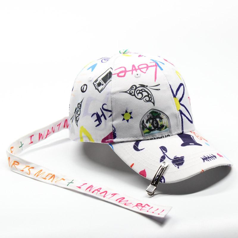 权志龙同款帽子长带子涂鸦bigbang棒球女夏天休闲百搭