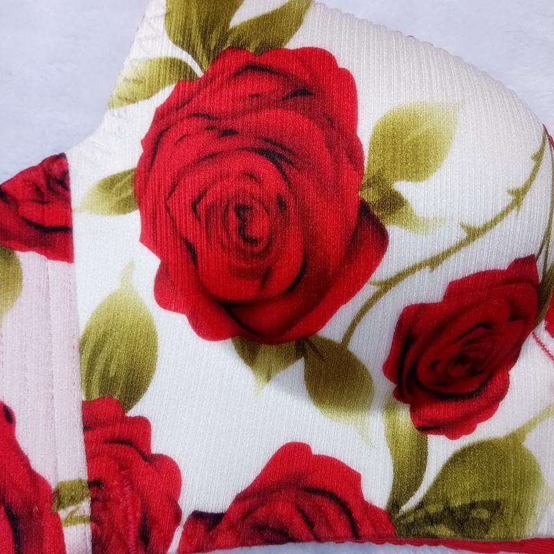 麦瑞思性感聚拢诱惑玫瑰花无痕无钢圈女内衣结婚本命年红色文胸套装包