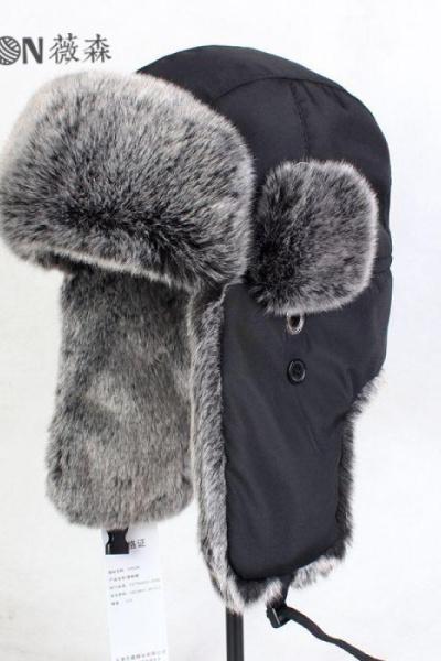 622款东北棉帽特大号雷锋帽毛帽子滑雪帽冬季骑车帽黑色纯色素色男韩版MAR PAIRS
