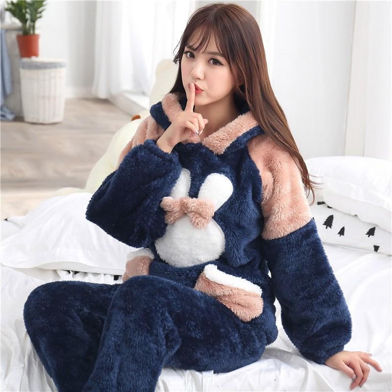 622款韩版加厚珊瑚绒毛毛睡衣可爱卡通学生情侣绒加肥加大女冬胖mm大