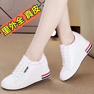 秋鞋女2019新款百搭小白鞋女內增高女鞋8cm坡跟白色休閑板鞋MAR PAIRS