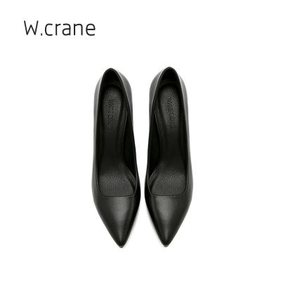 新款皮鞋低跟中跟小码优雅职业礼仪工作鞋女尖头细跟黑色高跟鞋女MAR PAIRS