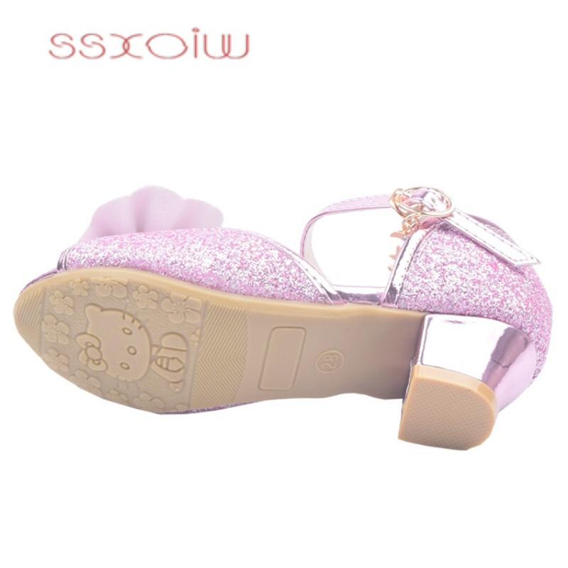 ssxoiw儿童凉鞋4夏5小女孩6蝴蝶结7女童8高跟9公主10小孩子11水晶鞋12
