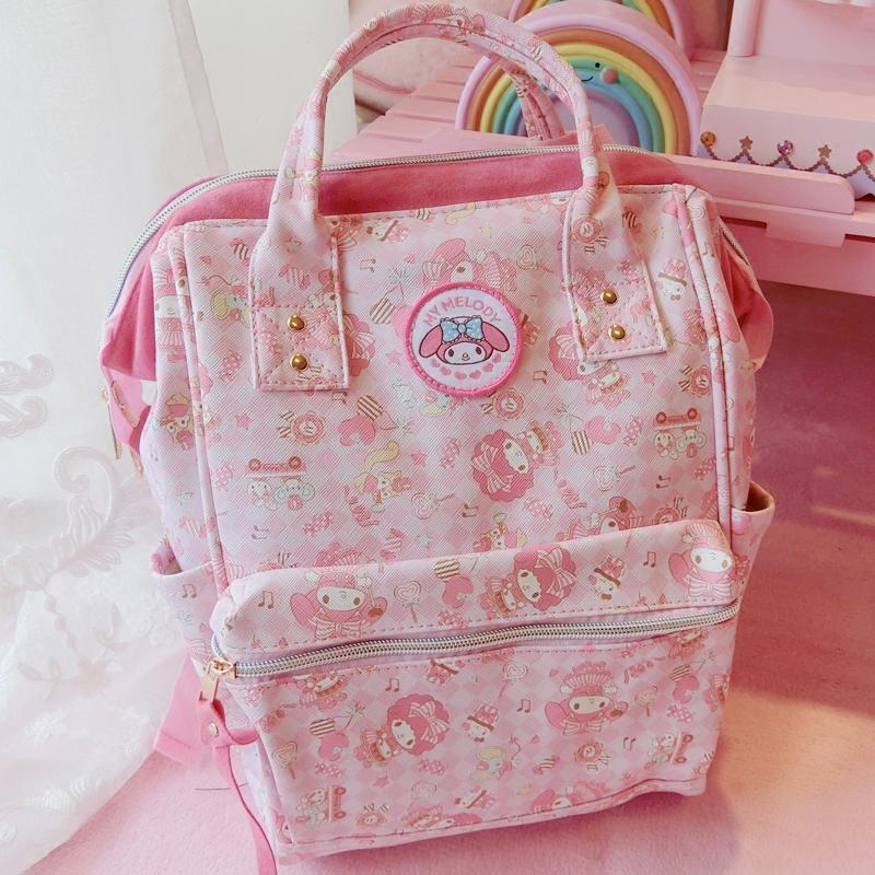 新款包邮可爱粉色melody双肩包美乐蒂学生软妹背包防水面料旅行书包