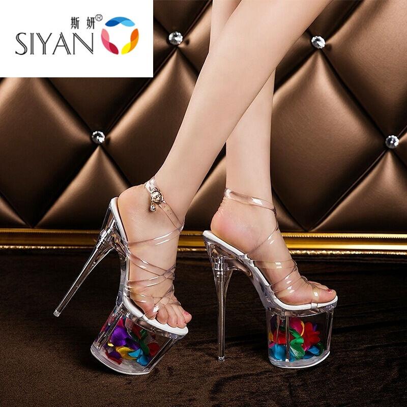 爱拥者新款女2017欧美模特t台走秀款银色水晶鞋凉鞋女17cm高跟鞋透明