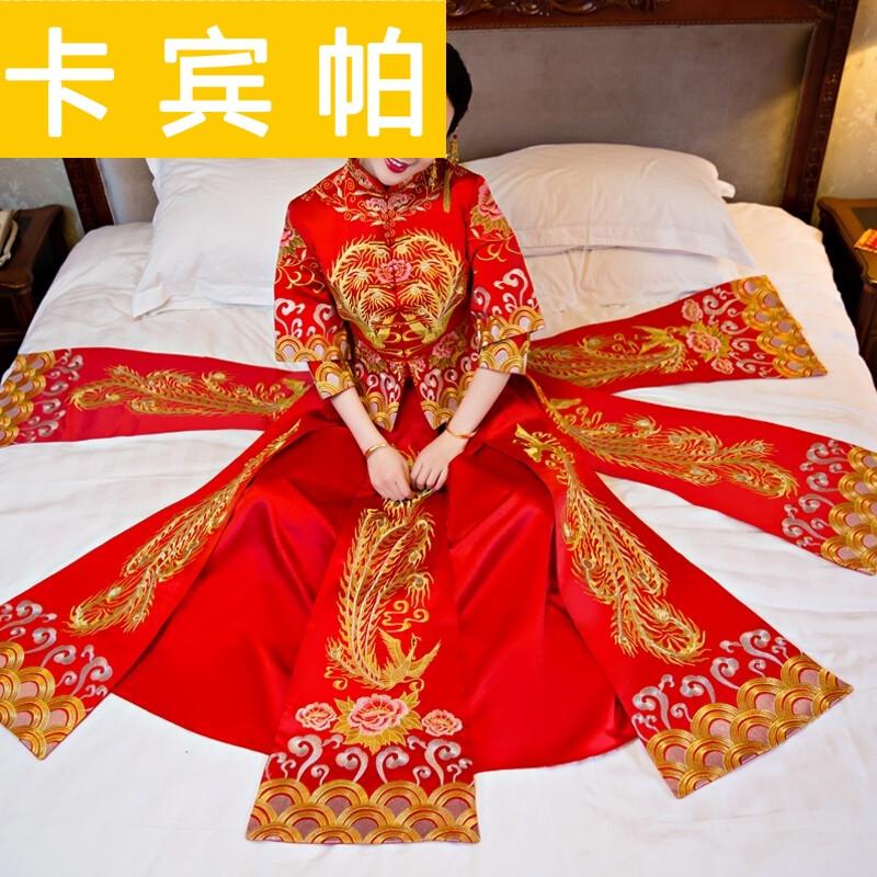礼服新娘结婚秀禾服复古旗袍红色敬酒服修身龙凤褂孕妇女七分袖铺床款