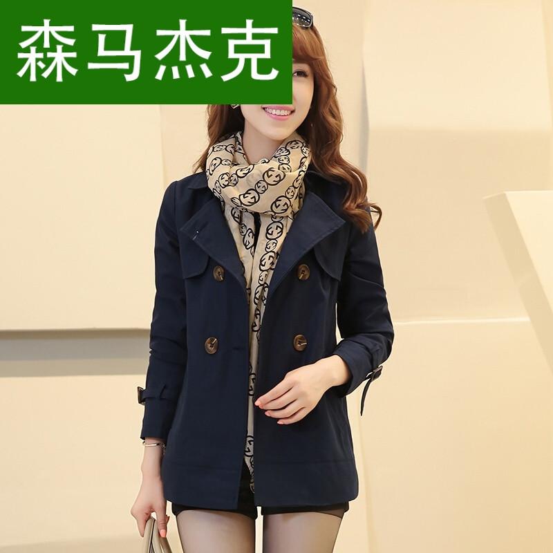 森马杰克2017秋装新款短款大码女式风衣韩国双排扣休闲长袖外套宽松图片