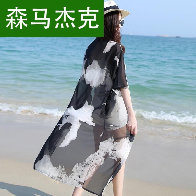 杰克2017夏季新款中长款雪纺开衫薄外套披肩宽松外搭罩衫沙滩防晒衣女图片
