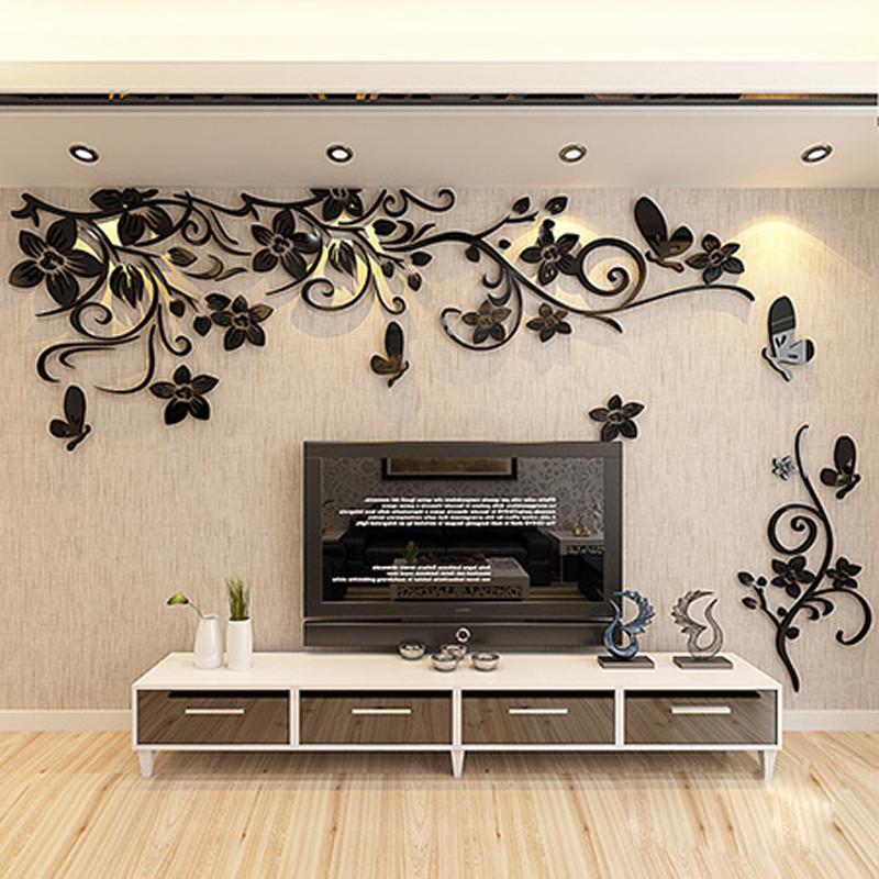 舒厅创意家居 花藤3d立体亚克力墙贴画客厅沙发卧室床头电视亚背景
