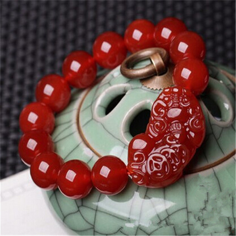 天然红玛瑙貔貅手链男女款招财手串