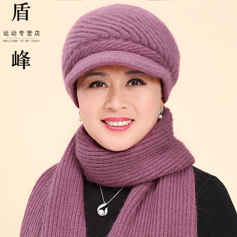 户外老年人帽子女冬天保暖加绒毛线帽兔毛针织帽加厚中年妈妈奶奶帽老