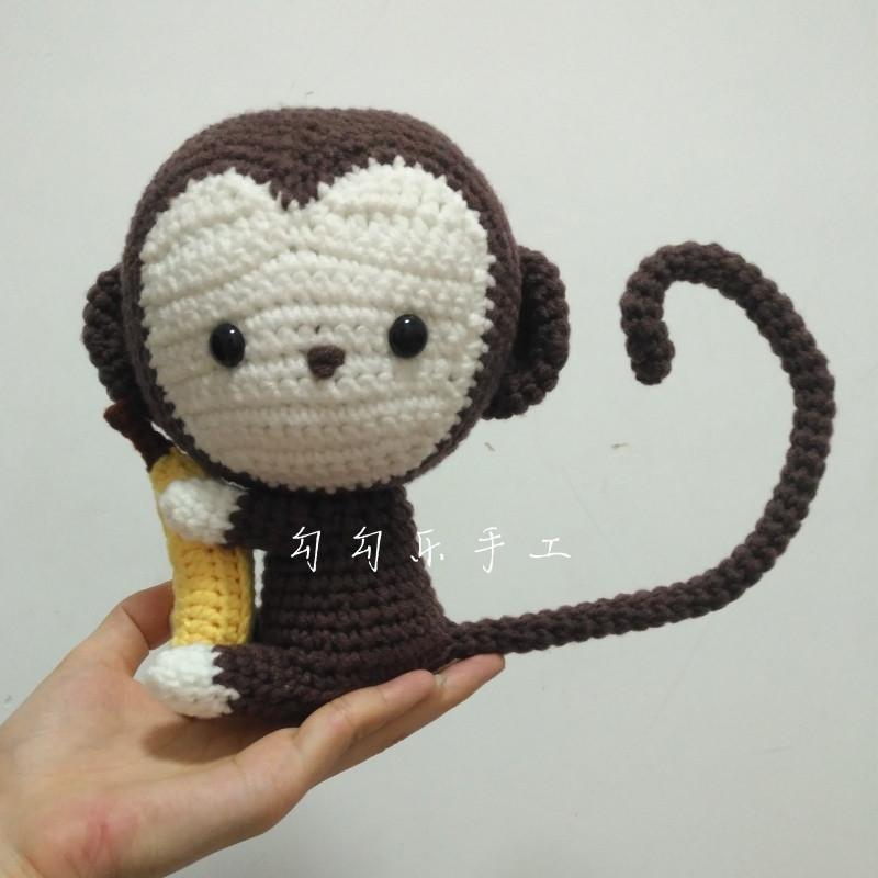 qmfs新款钩针编织毛线玩偶 diy手工材料包 小猴子抱香蕉 新品 视频