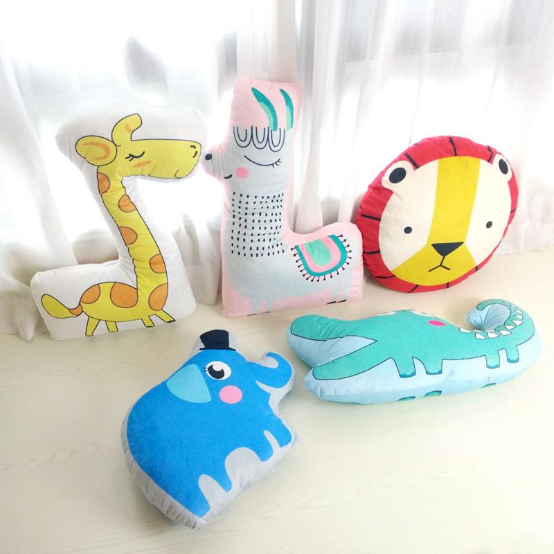 森林动物卡通简笔画大象鳄鱼狮子长颈鹿萌物玩具可拆抱枕礼物