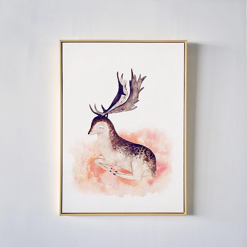 小鹿玄关装饰画北欧餐厅客厅书房墙画现代简约客厅壁画挂画