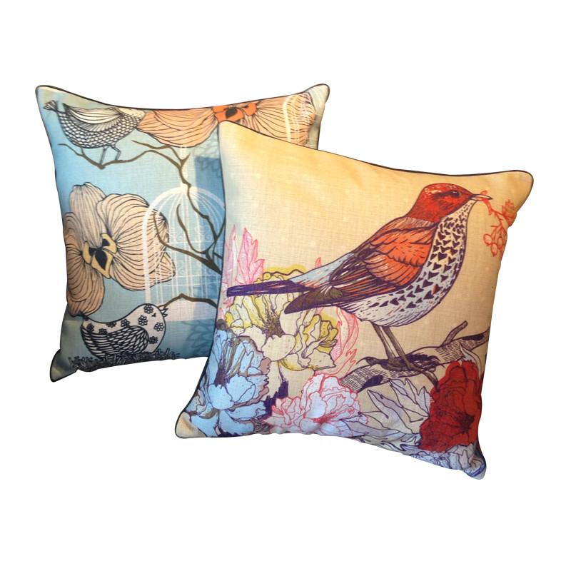 鸟语花香欧式靠垫北欧客厅美式抱枕现代沙发花鸟靠枕含芯图片