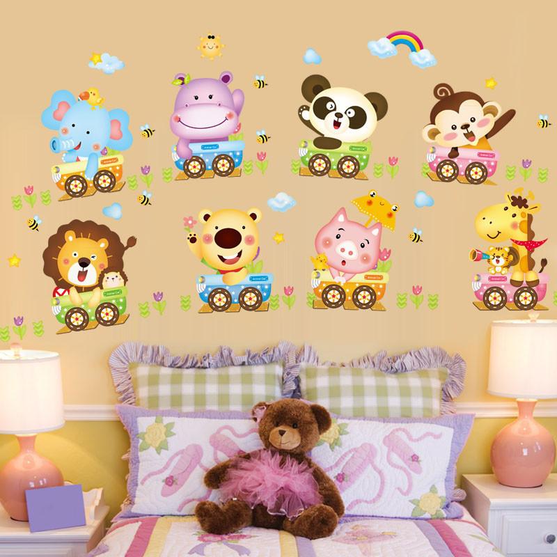 可移除测量身高贴卡通墙贴画宝宝儿童房间卧室幼儿园墙壁装饰贴纸