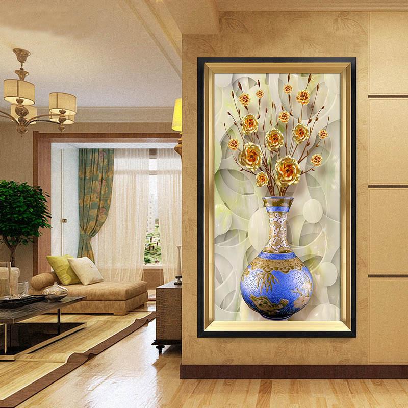 玄关装饰画竖版过道发财树欧式美式走廊壁画客厅餐厅墙画有框挂画图片