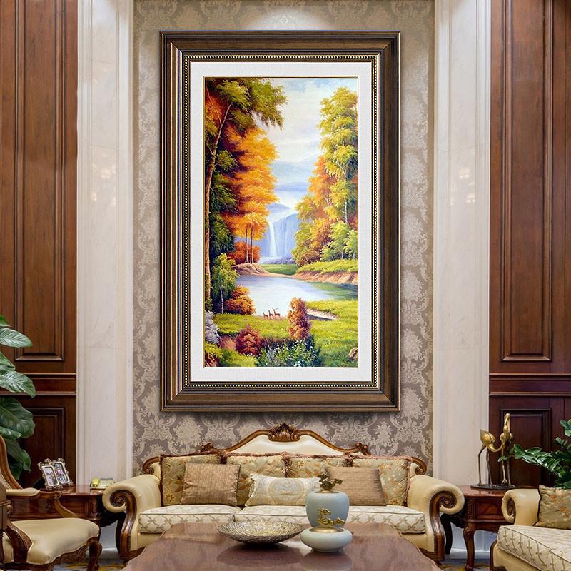 美式玄关装饰画欧式现代竖版走廊过道风景油画墙画壁画客厅挂画