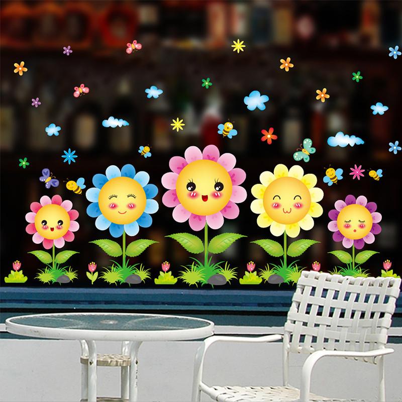 园橱窗布置_幼儿园儿童房墙壁装饰墙贴纸橱窗玻璃贴画卡通笑脸太阳花窗花自粘