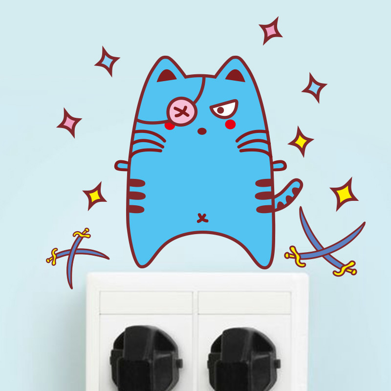 开关贴纸卡通可爱动物墙贴画儿童房间幼儿园插座装饰猫咪搞笑表情