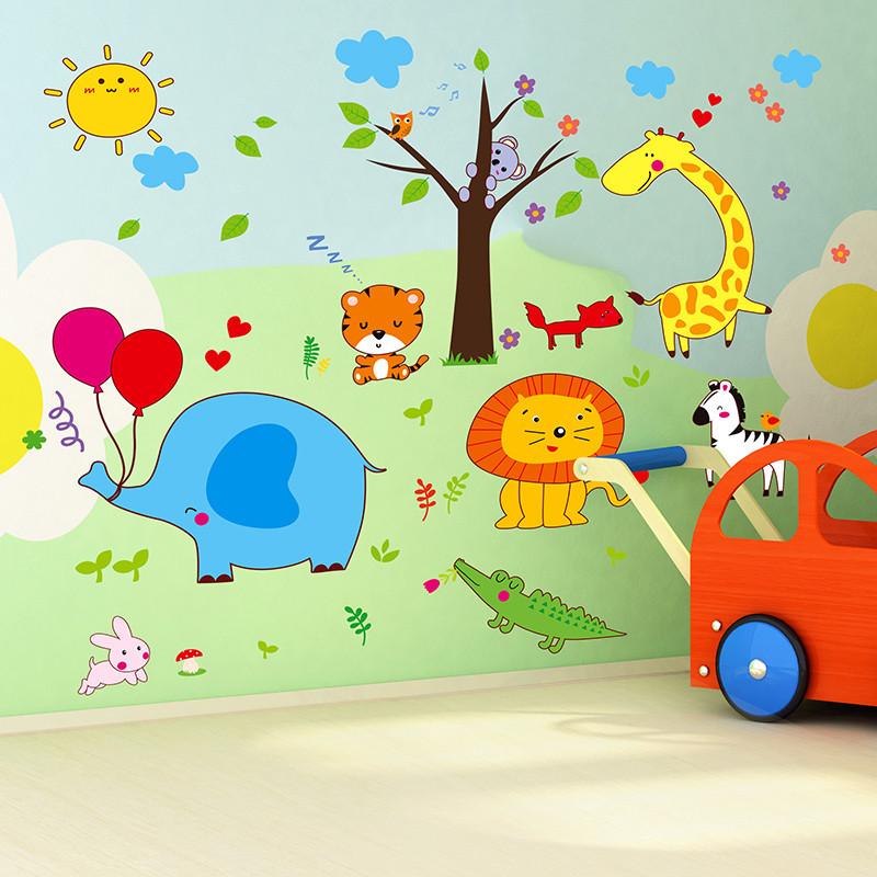 儿童房幼儿园教室墙面装饰贴纸树枝上的动物卡通墙纸自粘墙贴画