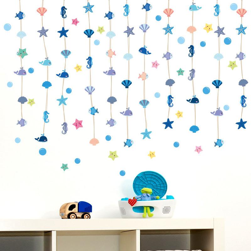 幼儿园墙壁装饰品墙贴纸小鱼挂饰挂坠卧室客厅房间海洋儿童房贴画