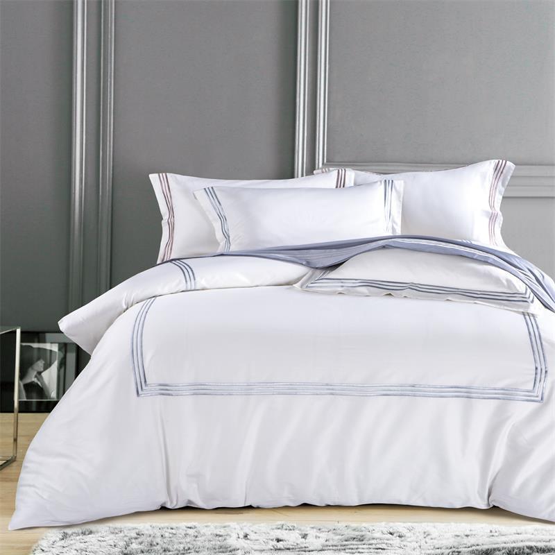 五星级酒店床上用品60支纯棉刺绣四件套宾馆白色床单纯色长绒棉