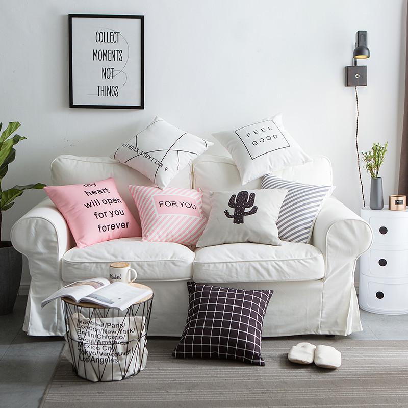 可爱小清新简约沙发垫全棉床头靠腰抱枕靠套办公室汽车靠垫含芯