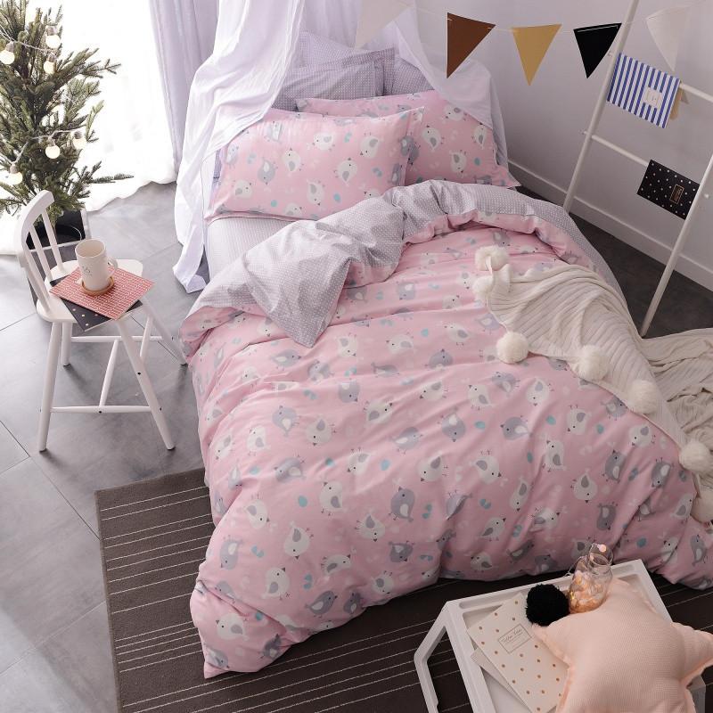 全棉卡通简约可爱公主纯棉清新时尚床上用品三四件套床单床笠春夏