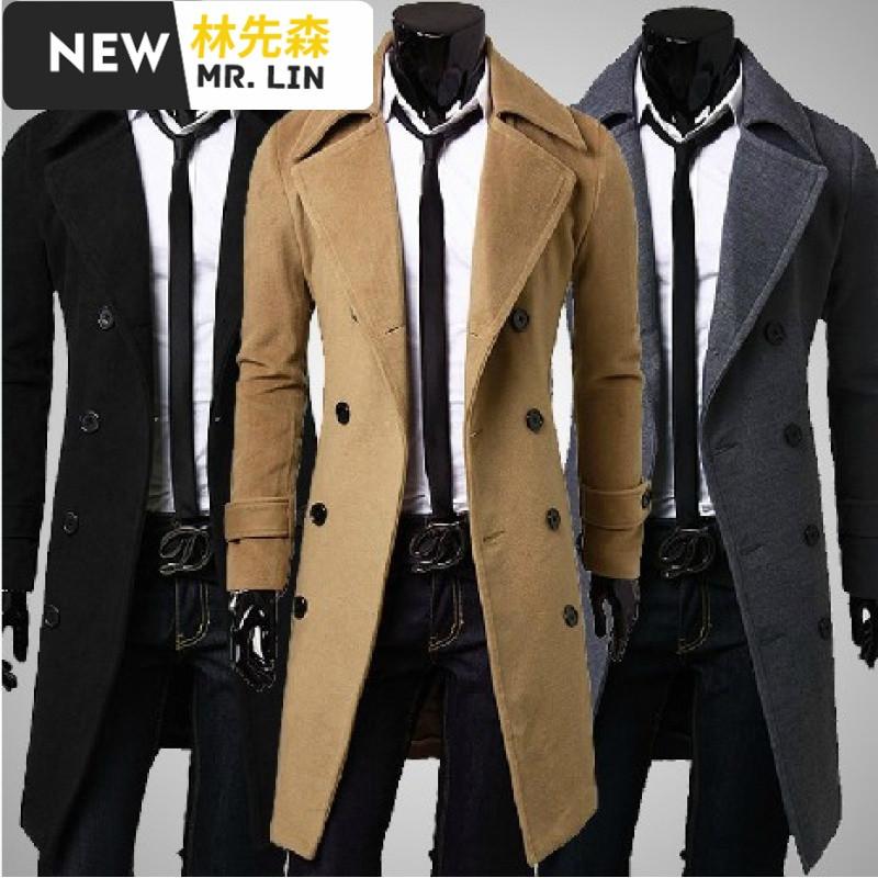 潮流男装妮子大衣男中长款韩版青年商务休闲帅气毛呢风衣冬季呢子外套