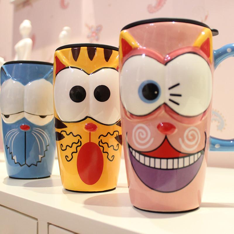 品佳仟度彩绘陶瓷杯 创意时尚马克杯子带盖带勺咖啡杯 大容量卡通水杯