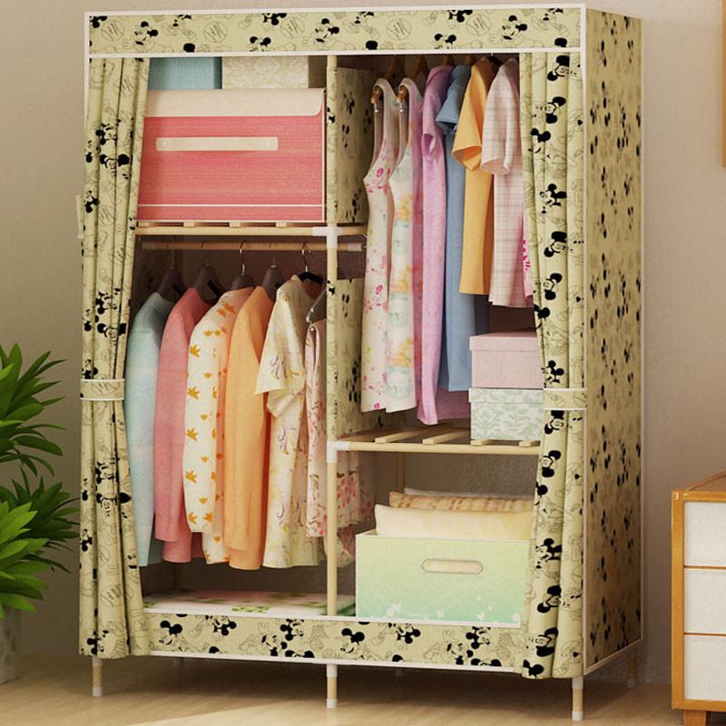 家时光 简易布衣柜实木易组装衣橱布衣柜布艺牛津布实木双人加固柜