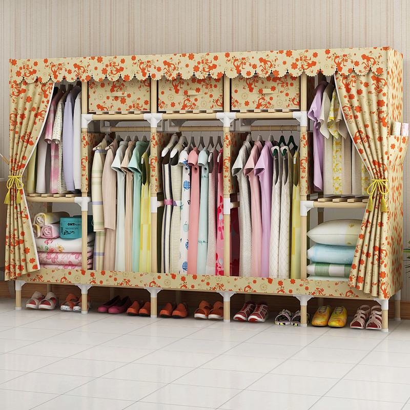 家时光 简易衣柜实木布衣柜非金属2.0加粗加固木棍布