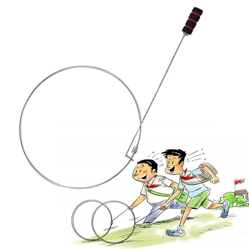 幼儿园滚铁环儿童手推风火轮滚铁环滚圈民间怀旧玩具户外运动玩具