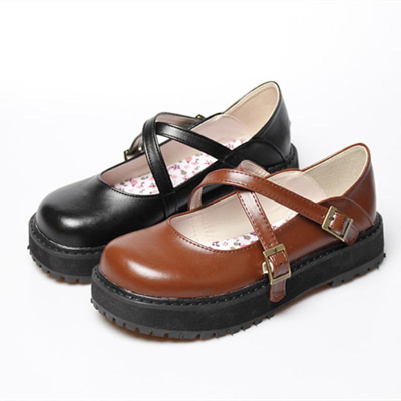 新款原创新一代日系学生演出小皮鞋森女系厚底平底可爱圆头女鞋软妹鞋