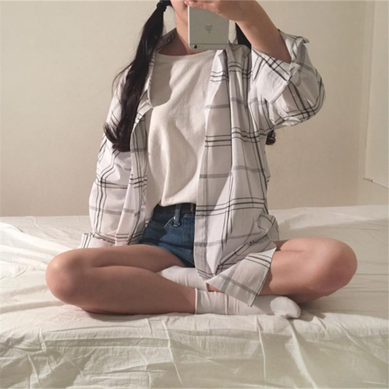 2017新款格子衬衫女长袖宽松韩版chic学生bf衬