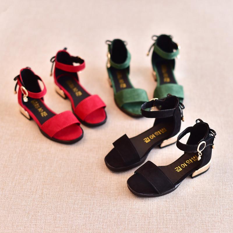 2017新款2017夏季新款童鞋儿童女童凉鞋学生公主鞋韩版百搭高跟露趾
