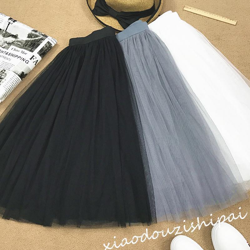 秋装黑色白色灰色纱纱百褶裙网纱裙子蓬蓬裙高腰中长款半身裙纱裙