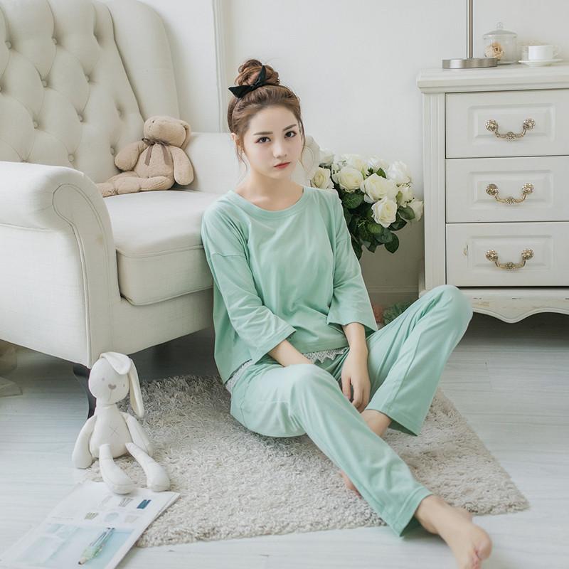 韩版睡衣女秋季纯棉长袖宽松甜美可爱学生清新春夏家居服套装