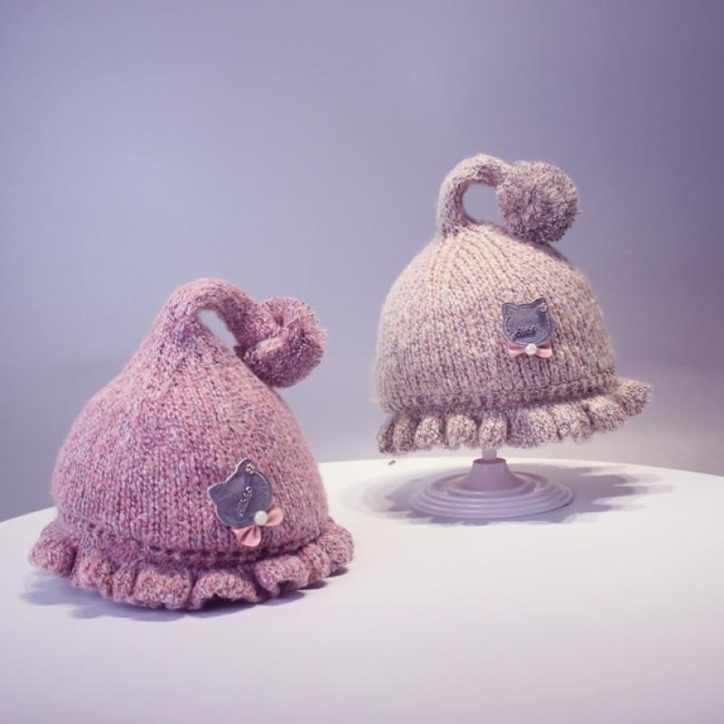 秋冬宝宝帽子婴儿毛线帽男女童加厚手工帽0-3-6个月针织款保暖帽