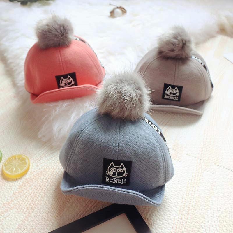 新款婴儿童帽子秋冬1-2岁男女童可爱毛球鸭舌帽宝宝保暖棒球帽潮